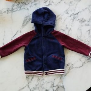 Red/Blue Button Front Hoodies, Size 12 Months